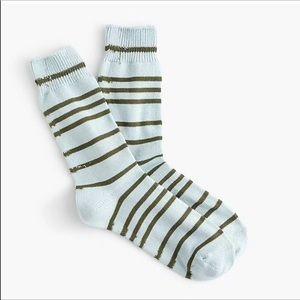J. Crew Stripe Trouser Sock #H9979 green cotton
